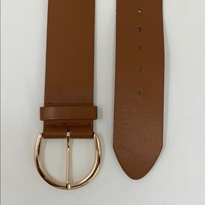 New York & Company Brown Elastic Faux Leather Belt